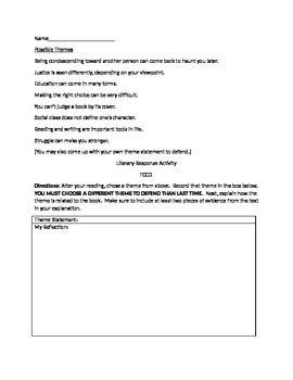 True Confessions of Charlotte Doyle Tiered Theme Activity