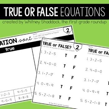 True False Equations for 1st Grade