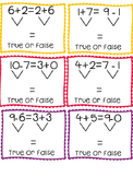 True False Equations within 20