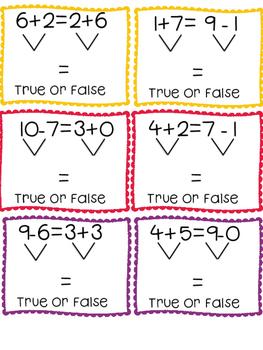 True False Equations within 20