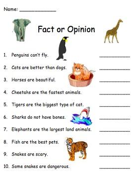 True False Fact Opinion Animals
