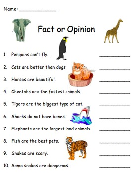 True False Fact Opinion Animals