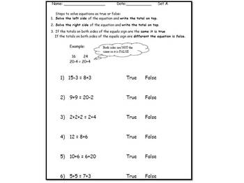 True & False Math Common Core Lesson Plan, Posters, and Worksheets