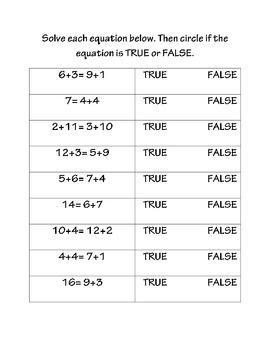 True False Math Equations