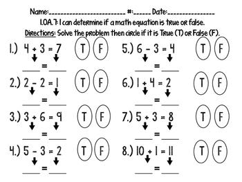 True/False Math Equations