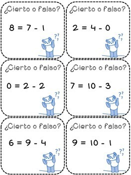 True False Math Fact cut paste worksheets and Task Cards (Spanish)
