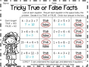 True False Math Treasures Addition and Subtraction