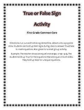 True False Popsicle Stick Sign