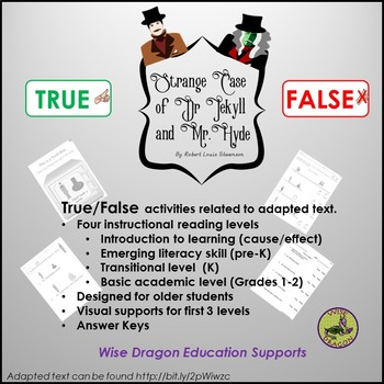 True/False Questions to support  Adapted Text Summary of Dr. Jekyll and Mr. Hyde