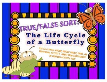 True / False Sort - Butterflies / Life Cycle of a Butterfly