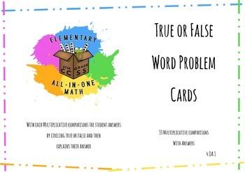 True & False Statement Cards - Manipulative for 1.OA.1