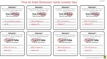 True & False Statement Cards - Manipulative for 4.OA.1
