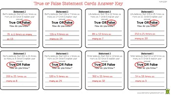 True & False Statement Cards - Manipulative for 4.OA.1