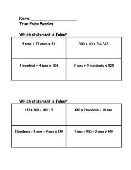 True False Statements with Place Value and Comparisons