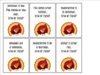 True & False Turkeys: a Fun Flashcard Game