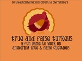 True & False Turkeys: a Fun Flashcard Game