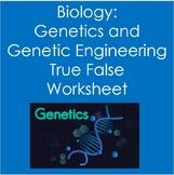 True False Worksheet:  Biology:  Genetics and Genetic Engineering