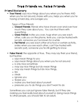 True Friend vs. False Friend Packet