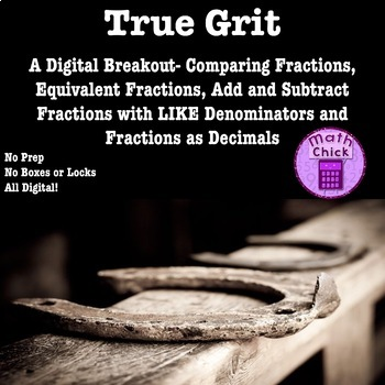 True Grit- Digital Breakout Escape Room Compare Compose Add Subtract Fractions