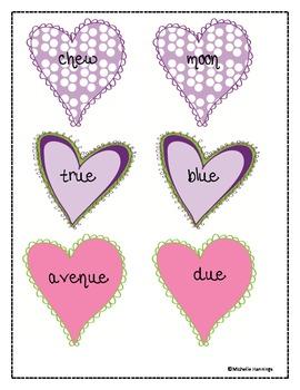 """True"" Love- Valentine's Day Long U Sound Word Sort: ue, oo, and ew"