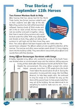 True Stories of 9/11 Heroes Activity