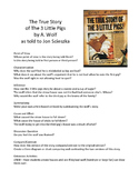 True Story of The 3 Little Pigs by Scieszka - Literary Skills with Picture Books