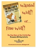 True Story of the 3 Little Pigs (Jon Scieszka): Wanted or Free Poster Activity