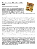 True Story of the Three Little Pigs - Reading and Questions