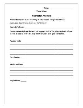 True West - Character Analysis Activity - Sam Shepard