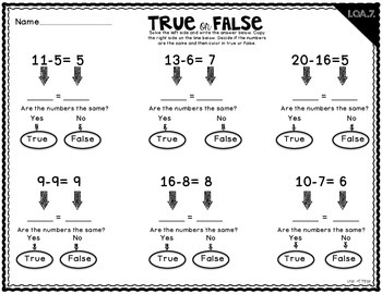 True or False Equations