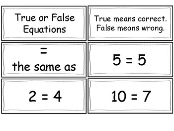 True and False Equation Fluency Cards