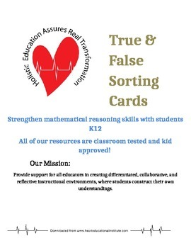 True and False Math Sorting Cards