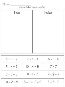 True and False Math Statements Sort