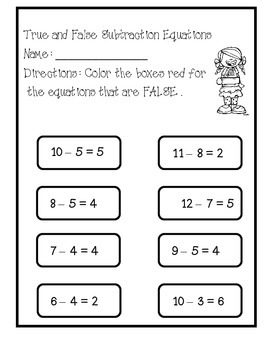 True  and False Subtraction Equations