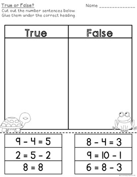 True or False Subtraction Practice Cards & Assessment Sheets {FREE}
