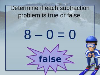 True and False Subtraction Sentences Powerpoint