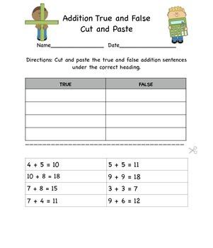 True and False addition sentences