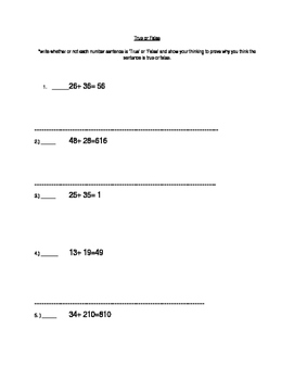 True and False equations for adding fractions