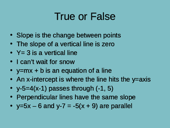 True or False Activity for Equations of Lines