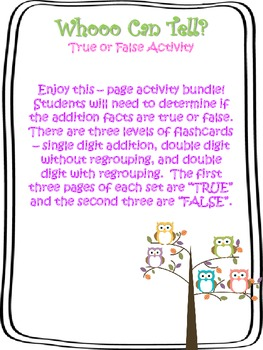 True or False? Addition Activity