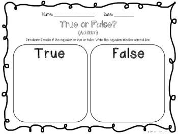 True or False Addition {Freebie}