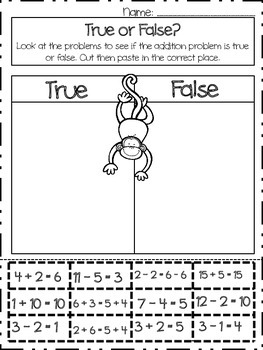 True or False Addition Practice Worksheet-Cut and Paste