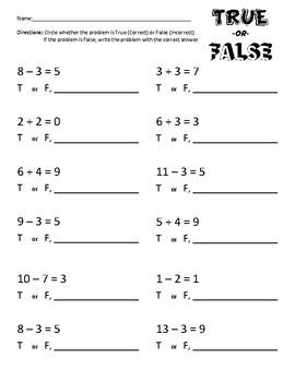 True or False - Addition & Subtraction