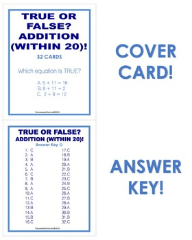 True or False? Addition (Within 20) Task Cards