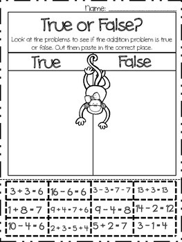 True or False Addition and Subtraction Practice Worksheet- Cut and Paste