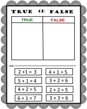True or False Addition for First Grade