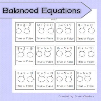 True or False - Balanced Equations