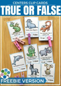 True or False Clip Cards FREEBIE