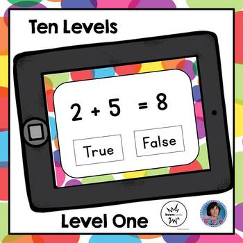 True or False Addition and Subtraction Equations Boom Task Cards: Ten Levels!