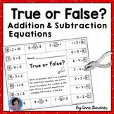 True or False Equations - First Grade Hole punch activity